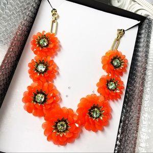 J. Crew Orange Lucite Flower Necklace